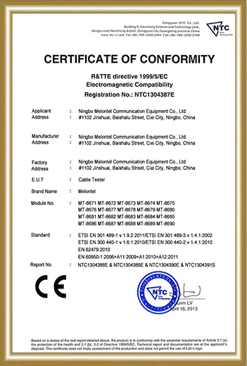 telecommunication equipment suppliers certificate